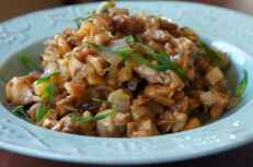 Five-spice chop suey with chicken and Chinese vegetables (Chinese mushrooms, preserved radish, onion, leek, bamboo shoot